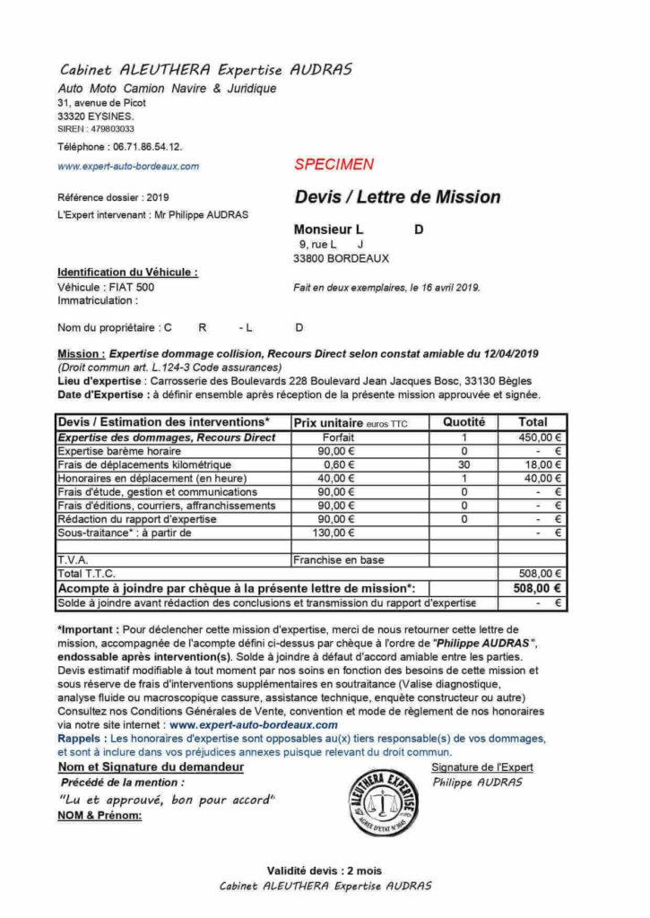 expert-auto-bordeaux-recours-direct-droit-commun-code-assurance